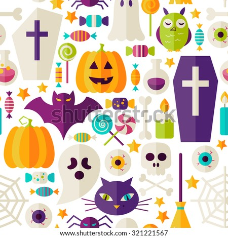 Halloween Party Objects Seamless Pattern over White. Flat Design Vector Seamless Texture Background. Halloween Holiday Template. Trick or Treat - stock vector