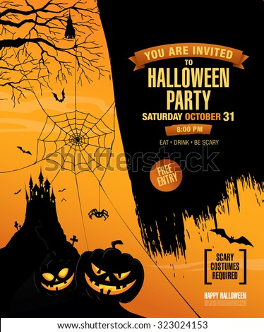 Halloween party. Poster - stock vector