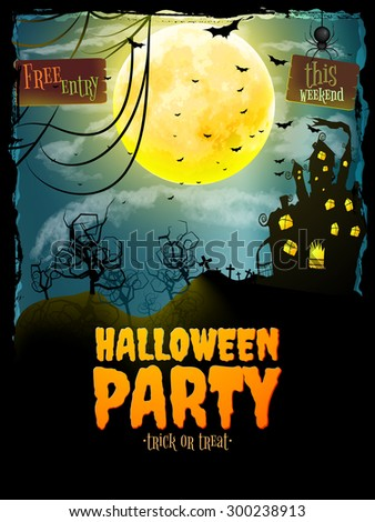 Halloween party poster. Hunted house on spooky graveyard. EPS 10 vector file included - stock vector
