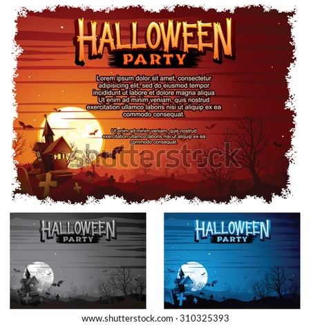Halloween Party Poster Set. Classic Retro Illustration. Print Template Ready for Your Text and Design. - stock vector