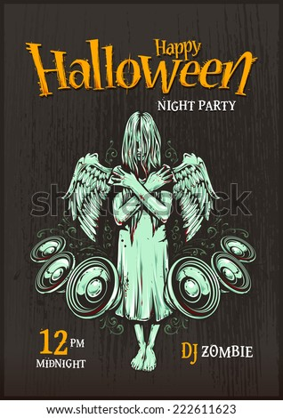 Halloween party poster template. Zombie girl with speakers. Halloween typography. Vector illustration. - stock vector