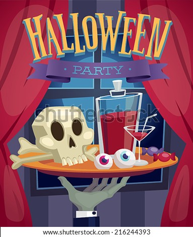 Halloween party poster. Vector illustration. - stock vector