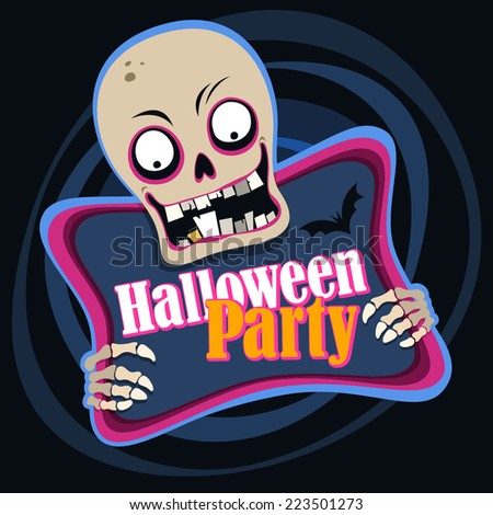 Halloween party poster with zombie - stock vector