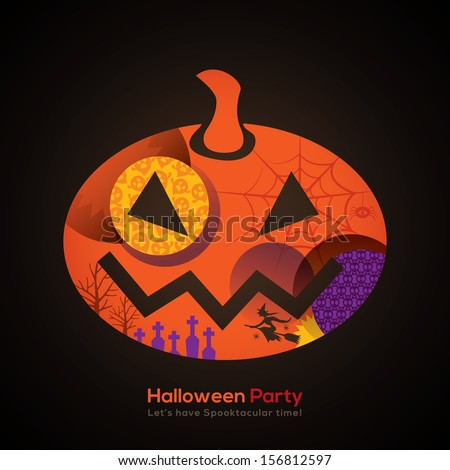 Halloween Party Pumpkin Isolated Illustration for invitation card / poster / flyer / web banner - stock vector