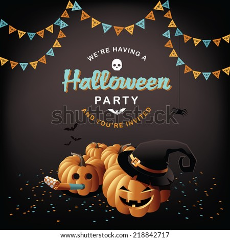 Halloween party pumpkins and confetti EPS 10 vector - stock vector