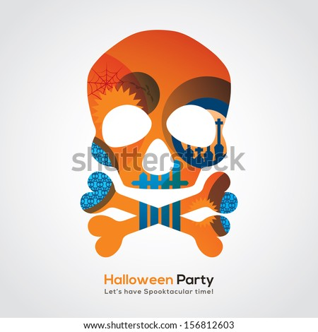 Halloween Party Skull Isolated Illustration for invitation card / poster / flyer / web banner - stock vector