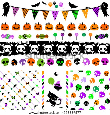 halloween party themed set with cute elements  - stock vector