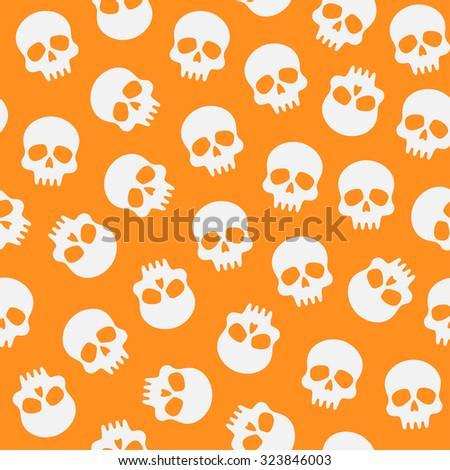 Halloween pattern with skulls on orange background - stock vector