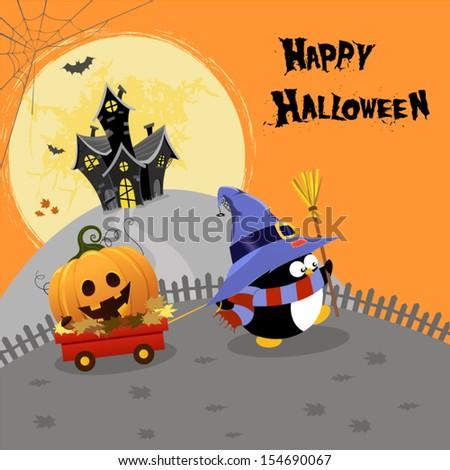 Halloween Penguin Delivering Pumpkin - stock vector