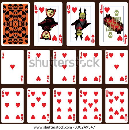 Halloween poker playing cards. Heart suit and back - stock vector
