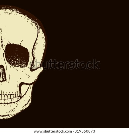 Halloween postcard. Half smiling a skull on a black background. All isolated. - stock vector