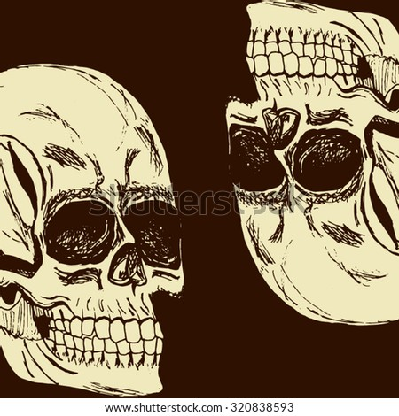 Halloween postcard. Two hand-drawn white evil skull opposite each other, one of which is inverted. Skull isolated. - stock vector