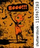 "halloween poster ""boo!"" with screaming weird character. vector illustration - stock vector"
