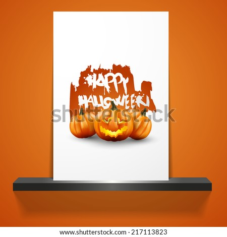 Halloween Poster. Scary Jack O Lantern halloween pumpkin with candle light inside,  - stock vector