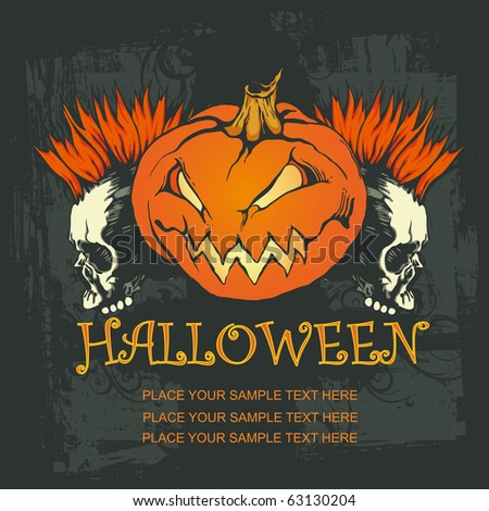 halloween poster with Pumpkin and punk skulls. vector illustration - stock vector