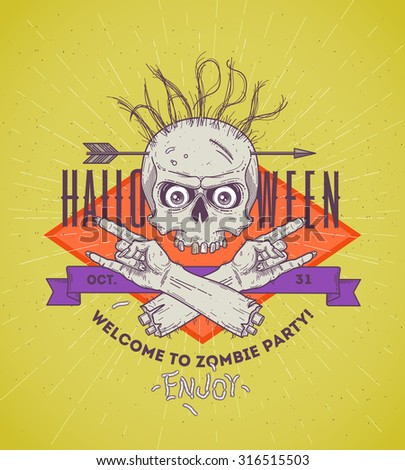 Halloween poster with zombie head and hand - line art vector illustration - stock vector