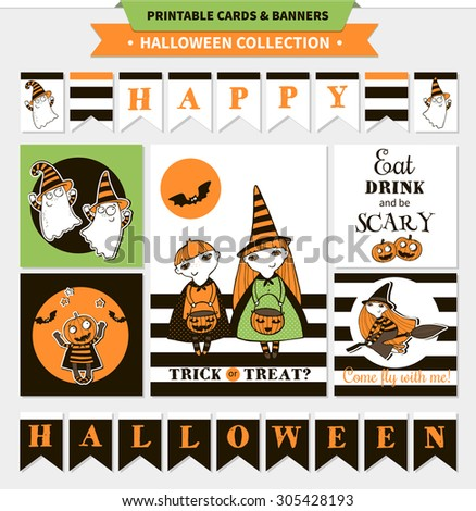 Halloween printable vector cards and banners with cartoon funny pumpkin, witches, ghosts, vampire bats, stars and words (trick or treat, happy hallo ween, eat drink and be scary) - stock vector