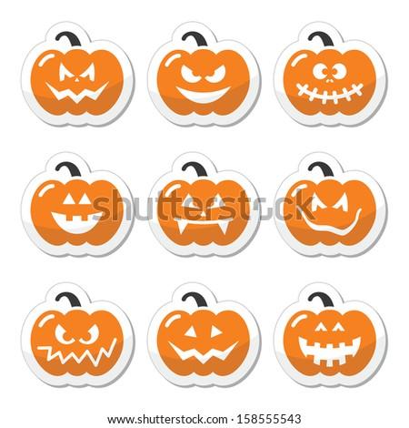 Halloween pumkin vector orange icons set - stock vector
