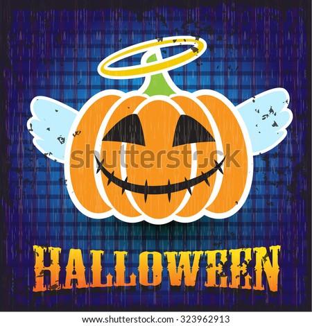 Halloween pumpkin. Angel. - stock vector