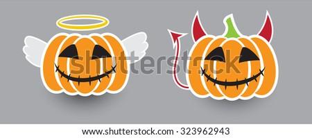 Halloween pumpkin. Angel & Devil. - stock vector