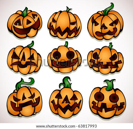 pumpkin different expressions facial stock photos pumpkin
