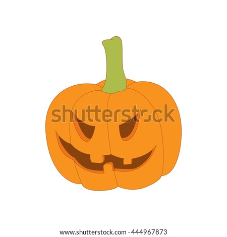Halloween pumpkin icon in cartoon style on a white background - stock vector