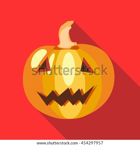 Halloween pumpkin icon in flat style on a red background - stock vector