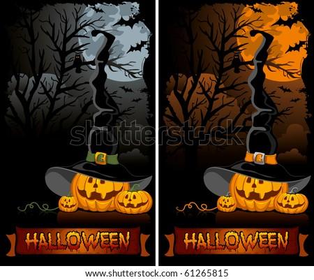 halloween pumpkin in the Black Witch Hat - stock vector