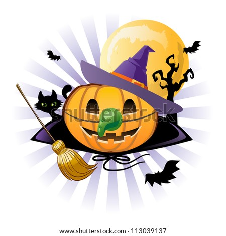 Halloween pumpkin Jack o lantern in wich costume - stock vector