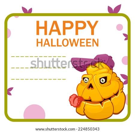 halloween pumpkin monster baseball card - stock vector