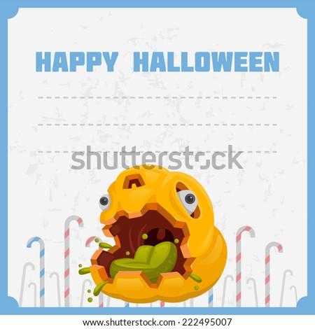 halloween pumpkin monster poison card - stock vector