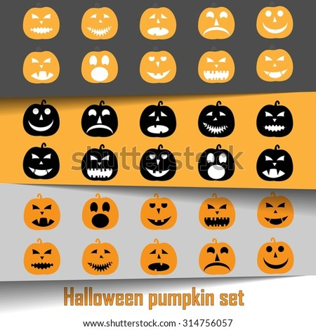 Halloween pumpkin set, yellow and black flat icon isolated on background, Happy Halloween day vector illustration  - stock vector