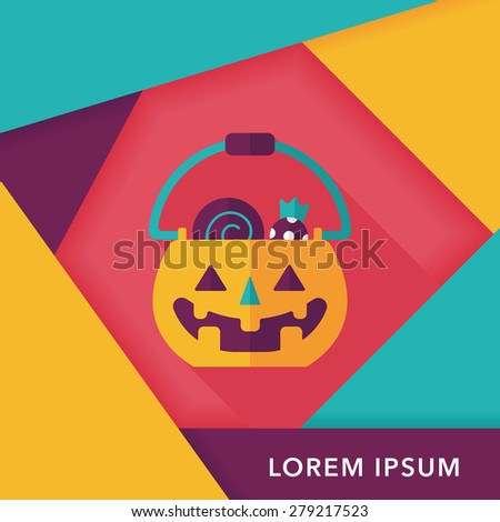Halloween pumpkin shaped box flat icon with long shadow, eps10 - stock vector
