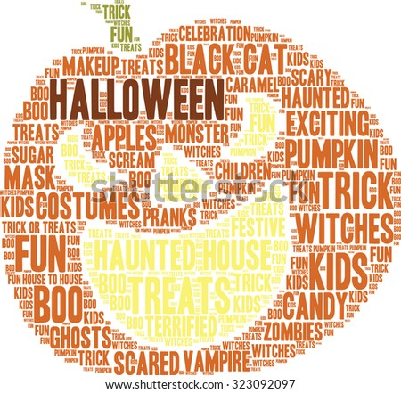 Halloween Pumpkin Shaped Word Cloud On a White Background.  - stock vector