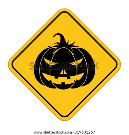 Halloween pumpkin sign. Vector illustration - stock vector