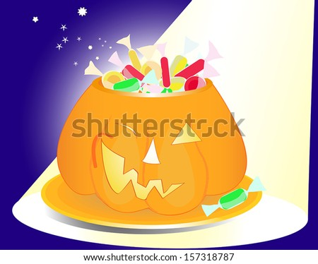 Halloween pumpkin vase full of sweets and sparkles in the spotlight - stock vector