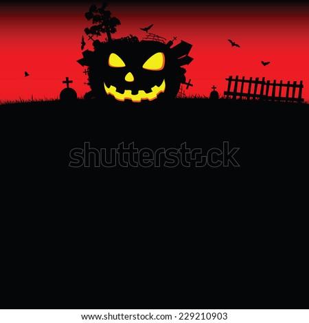 halloween pumpkin vector illustration on a color - stock vector