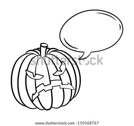 Halloween pumpkin with bubble speech - stock vector