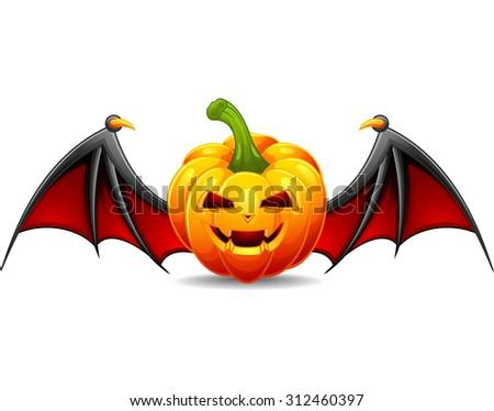 Halloween pumpkin with scary face - stock vector