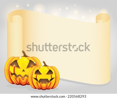 Halloween pumpkins and blank wish scroll - stock vector