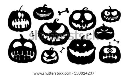 Halloween pumpkins characters. - stock vector