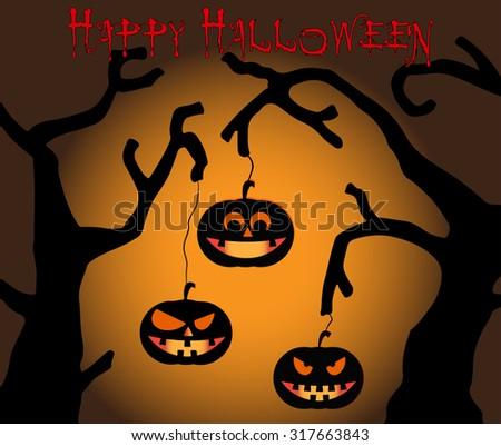 Halloween Pumpkins on brown background - stock vector