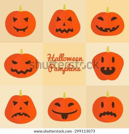 Halloween pumpkins set. Vector icons. - stock vector