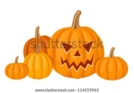 Halloween pumpkins. Vector illustration. - stock vector