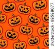Halloween Pumpkins vector pattern in orange background - stock vector