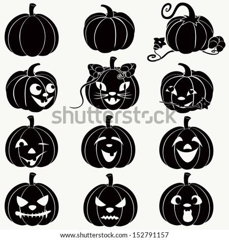 Halloween pumpkins. (Vector set, EPS 8) - stock vector