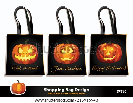 Halloween reusable shopping bag design. Vector template. Kid's bag set for Trick-or-Treat game. Jack o`lantern pumpkins with scary & funny faces against black background. Sample text. Pumpkin icon. - stock vector