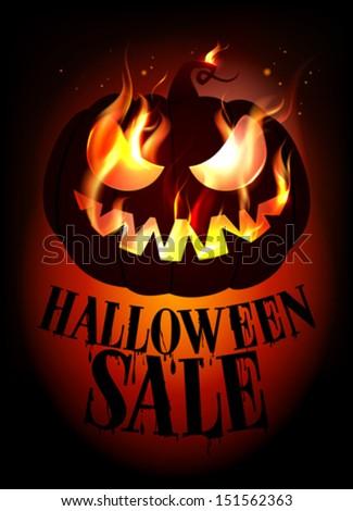 Halloween sale design with burning pumpkin. Eps10 - stock vector