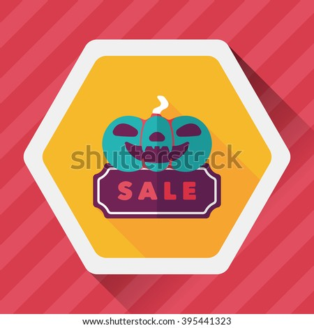 Halloween SALE flat icon with long shadow,eps10 - stock vector