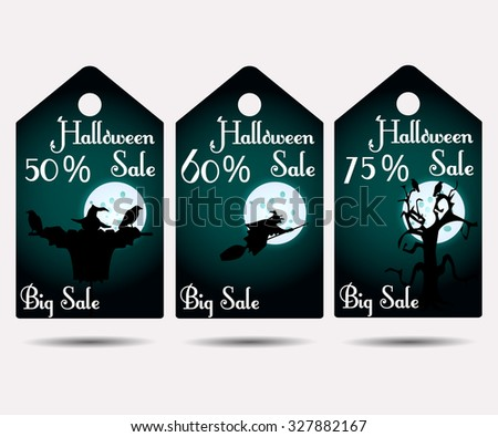 Halloween sale. Holiday discounts, labels, price tags. Sticker or labels. Vector illustration. - stock vector